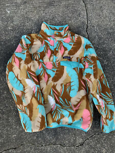 Patagonia Synchilla Snap T Fleece Feather Floral Womens Size Small Pink Blue