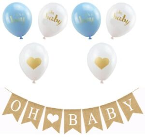 NEW Oh Baby Burlap Banner Garland 6 It's A Boy Blue Baby Shower Party Balloons