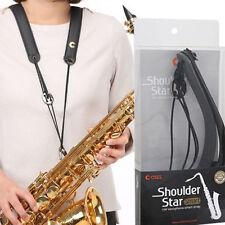 New Saxophone Neck Shoulder Strap Adjustable Leather Smart Easy Instrument Black
