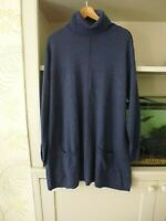 "FAT FACE 'SUZIE"" LONGLINE SWING ROLL NECK JUMPER - BLUE - CASHMERE BLEND - 18"