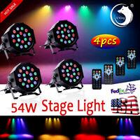 4PCS 54W Stage Lighting 18LED RGB DMX512 Remote DJ Disco Club Party Show Light