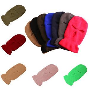 Women Ski Mask Winter Cap 3 Hole Balaclava Beanie Hat Hood Tactical Warm Men