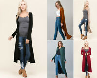 S M L Women's Soft Knit Long Maxi Duster Cardigan Open Front Solid Colors Basic