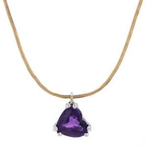 """Amethyst Heart Pendant Necklace 17 3/4"""" - 14k Yellow Gold Snake Chain 1.55ct"""