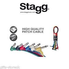 """Stagg confezione da 6 multi colore 1/4 """"Jack CAVI PATCH 15CM 6"""" Long spc015le NUOVO"""