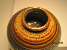 Round Glazed Pottery brown/blue signed PIC USA