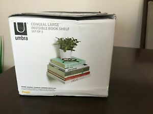 Umbra Conceal Floating invisible Bookshelves Large Silver 3 in box with hardware