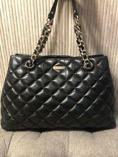 Authentic  Kate Spade Large Black Quilted Leather Handbag Purse Shoulder Bag