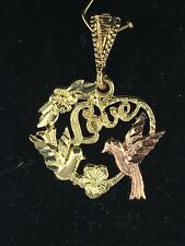 """New Solid 14K Two-Tone Gold """"LOVE"""" with Bird & Heart Charm Pendant 1.6 grams"""