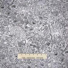 Animal Fabric - Woodland Coloring Black White - Timeless Treasures YARD