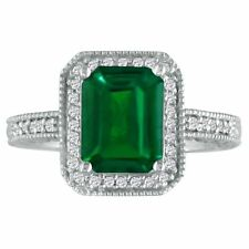 14K WHITE GOLD 3CT ANTIQUE STYLE EMERALD AND DIAMOND RING, SIZE-7