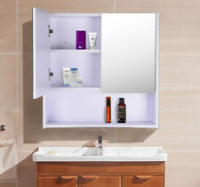 HOMCOM Bathroom Wood Mirror Wooden 2 Doors Wall Mounted Storage Cupboard Shelf