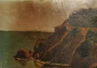 Antique impressionist oil painting seascape landscape signed
