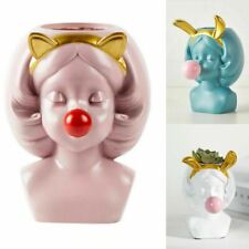 Nordic Human Resin Head Cute Vase Bubble Gum Home Living Room Flower Decoration