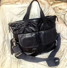 COLE HAAN Messenger BLACK LEATHER Laptop Shoulder Bag Executive Briefcase UNISEX