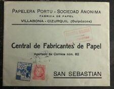 1937 Villabona Spain Civil War Censored Commercial Cover To San Sebastian