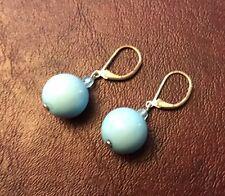"""Blue Drop 3/4"""" Sphere Earrings Lever Back"""