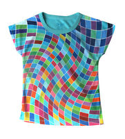Wavy Pixels girls T-shirt :: Designed by deezo :: free delivery :size 2-12