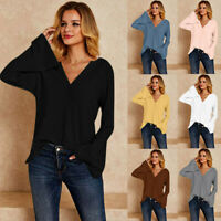 Fashion Womens V-neck Knit Sweater Solid Color Long Sleeve Loose Tops Blouse