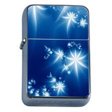 Blue Flower Light Em1 Flip Top Oil Lighter Wind Resistant With Case