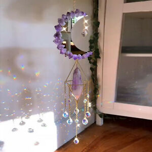 Crystal Sun Catcher Prism Moon Pendant Mobile Window Hanging Wind Chimes Decor