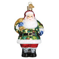 """Camo Santa"" (40299)X Old World Christmas Glass Ornament w/OWC Box"