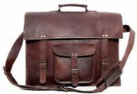"""Men's Genuine Vintage Dashing Leather 18"""" Messenger Laptop Briefcase Satchel Bag"""