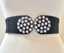 WIDE ELASTICATED BLACK WAIST BELT / DOUBLE SILVER METAL & CRYSTAL BUCKLE / 31