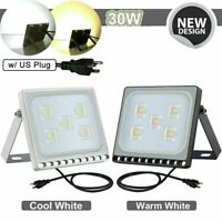 LED Security Flood Light Flood Lights w/US Plug Garden Outdoor Waterproof Lamp