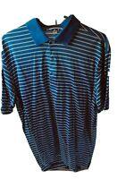 Peter Millar blue and yellow Striped Polo Golf Shirt - Size Large Golfing polo