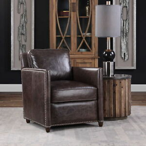 """27"""" w Top grain brown Leather Club Chair Smoke distressed french design"""
