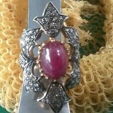 (pgasteelers1)14 Kt. Gold -2 Tone Diamond & Blood Red Ruby Cabachon Ring 35x21mm