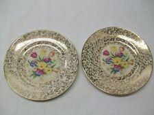 """Vintage H & K Tunstall """" Old English Sampler """" Pattern 8 Inch Salad Plates - 2"""