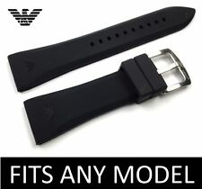 Black 24mm SILICONE RUBBER watch STRAP BAND for EMPORIO ARMANI AR0584 AR0595