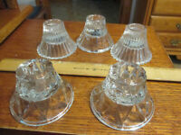 5 Vintage Home Interiors Clear Glass Base Votive Cup Candleholders Signed HOMCO