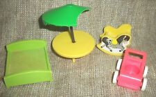 Vintage 1972 Fisher Price Little People furniture LOT Nursery Bed Stroller Table