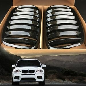 Fit BMW E71 X6 Series/E70 X5 Series Brown Carbon Style Front Kidney Grill Grille