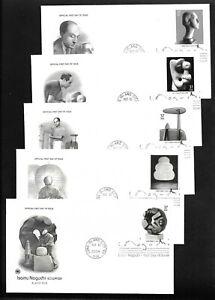 US FDC 2004 Isamu Noguchi Sculptor 5 Unaddressed Postal Comm Soc Scott 3857-61 |