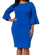 Calvin Klein Womens Sheath Dress Royal Blue Size 16W Plus Bell-Sleeve $134- 802