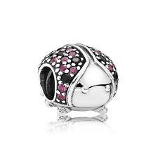 New Authentic Pandora charm Sparkling Ladybug Bead 791484CFR W Tag & Suede Pouc