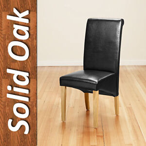 Pair Faux Leather Dining Chairs Modern Roll Top Scroll High Back Seat Oak Legs