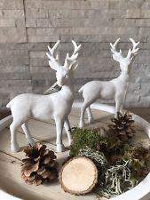 Rentier Deko Hirsch Figur Vintage Landhaus weiß 20 cm Höhe Weihnachten Tierfigur