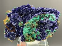 Natural AZURITE Crystal Growth On Green MALACHITE Mineral Specimen  Y341