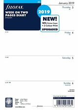Filofax A5 Size Week On Two Pages 2019  Diary Insert Refill 19-68522