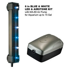 "6"" BLUE & WHITE LED & AIRSTONE KIT with MA-80 Air Pump for Aquarium up to 15 Gal"