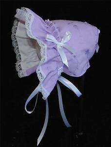New Handmade Orchid Eyelet Baby Bonnet