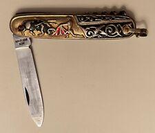1950s Ornate Handles Corkscrew Knife Spanish Bull Fighting Scene