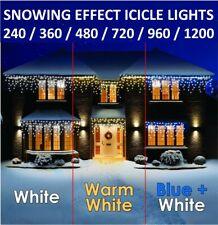 CHRISTMAS LED ICICLE SNOWING EFFECT LIGHTS XMAS WEDDING WITH TIMER & MEMORY UK
