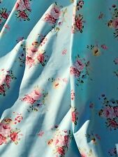 """Shabby Chic roses Blue Cotton fabric . Quilting,home Patchwork BTY, 64"""" Wide"""