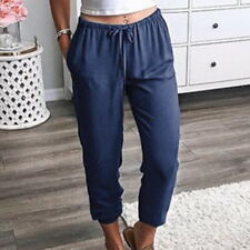US Women Harem High Waist Lantern Pants Straight Ninth Pants Loose Trouser DS